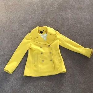 Women's J Crew Wool/Poly P Coat Size 6 Yellow